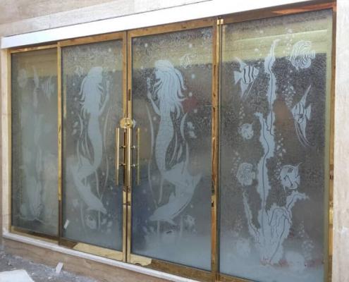 شیشه دکوراتیو سندبلاست