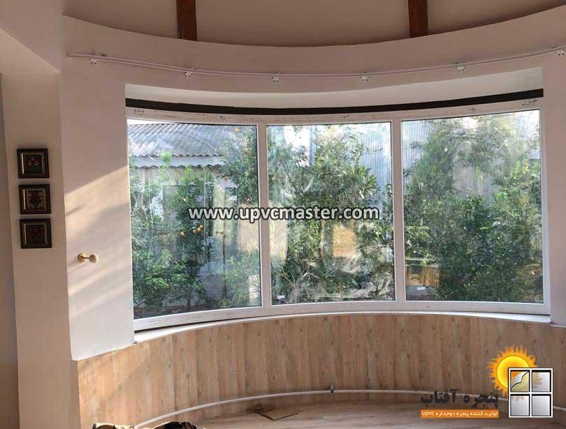 ساخت پنجره دوجداره قوس دار یو پی وی سی