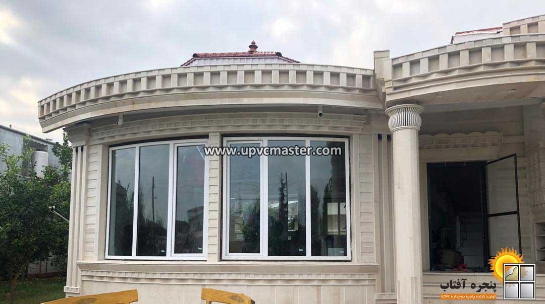پنجره دوجداره خم و قوس دار یو پی وی سی
