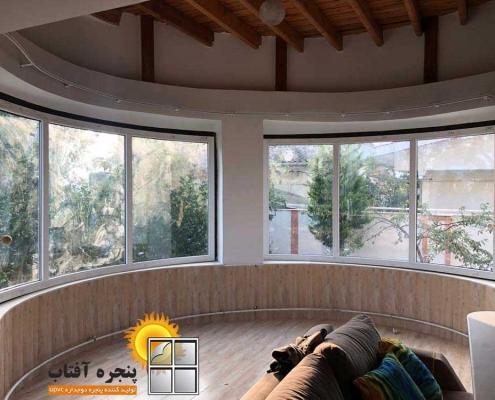 پنجره دوجداره خم UPVC در استان گیلان